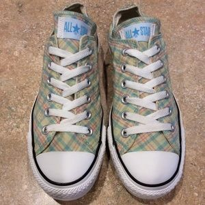 CONVERSE ALL-STAR PLAID GREEN LOW TOPS